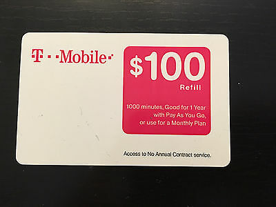 T-MOBILE $100 PREPAID REFILL CARD, New Unscratched