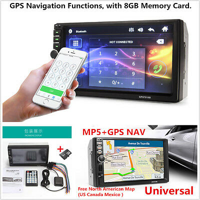 """7"""" HD 2 Din Touch Screen Car GPS Navigation Bluetooth FM Radio Stereo MP5 Player"""