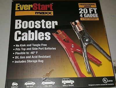 NIB - Ever Start Maxx 20ft 4 Gauge Booster Cables Jumper Cables W/ Storage Bag