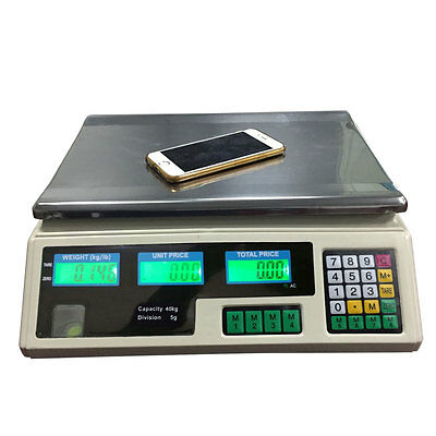 88lb 40KG * 5G Digital Produce Price Food Scale Market Weight Meat White