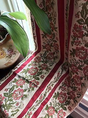 Antique French Fabric panel c1900 Bordeaux Red Stripe Damask 82""