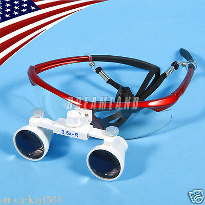 USA Dental Optical Surgical Binocular 3.5X Loupes Glasses Magnifier Red Color