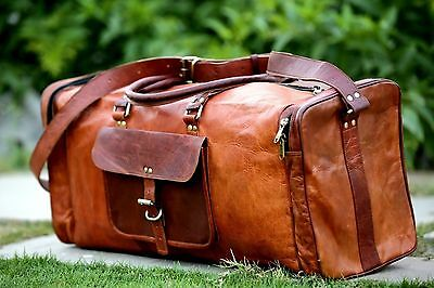 Men s genuine Leather large vintage duffle travel gym weekend overnight bag  ... f8f7071180adc