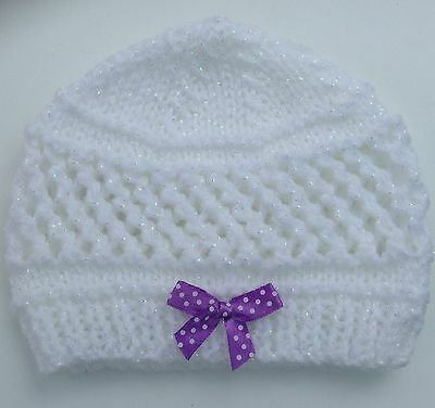 New Hand Knit Hat for a Newborn Baby in Glitter White