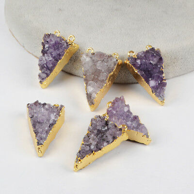 5Pcs Triangle Natural Amethyst Druzy Crystal Connector Gold Plated DIY BG1259