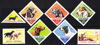 Romania 1965 Mint Hunting Dogs Complete Set of Stamps MNH