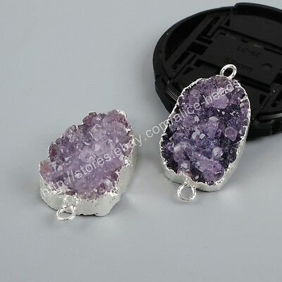 5Pcs Rough Freeform Natural Amethyst Druzy Connector Silver Plated DIY BS1229