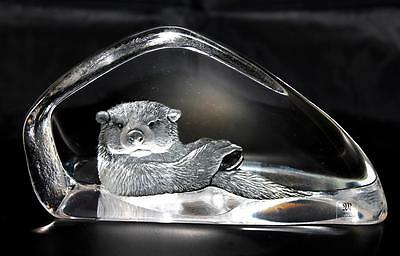 Hand Etched Crystal Otter - Mats Jonasson - New From Gallery - (18474)