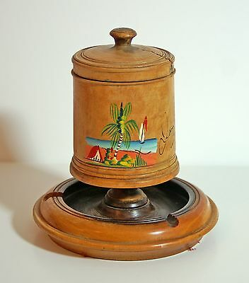 Vintage hand-painted wooden cigarette / tobacco box ashtray from Jamaica