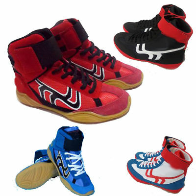 Mens leather Contender Boxing Boots Mid cut Full Lace Up Lightweight train Shoes