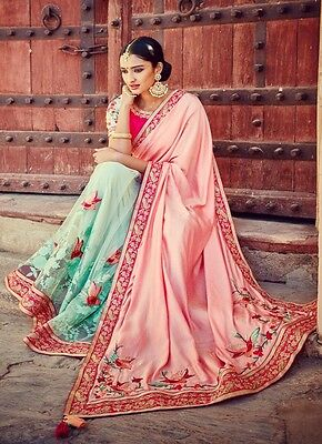 Latest Designer Pink & Firozi Embroidered Indian Ethnic Wedding Party-Wear Saree