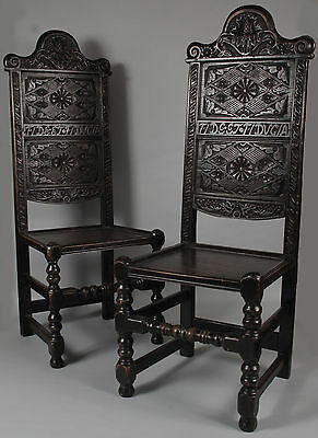 Historical interesting pair of Scottish finely carved oak chairs. 19th century
