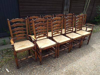 Brights of Nettlebed 10 Solid Oak Antique Style Dining Chairs