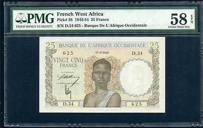 **1943-54 French West Africa  25 Francs Pick #38  Pmg58 Epq  Please Lqqk