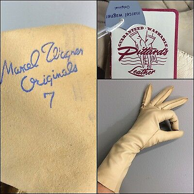 Luxe Vintage Marcel Wagner Pittard's Long Leather Gloves Sz 7 Washable NWT NOS