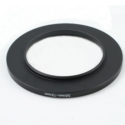 52-72mm 52mm to 72mm Step-Up Metal Filter Ring Adapter Black 52-72