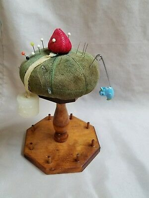 Vintage Wooden Pin Cushion Spool Thimble Holder