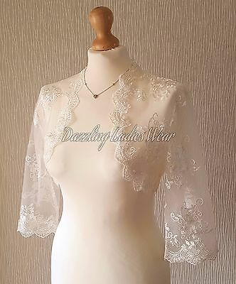 Ivory Embroidered Lace Bolero 3/4 sleeves Jacket/Wedding/Stole/Wrap/Shrug Bridal