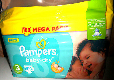 100 Couches PAMPERS Baby Dry taille 3