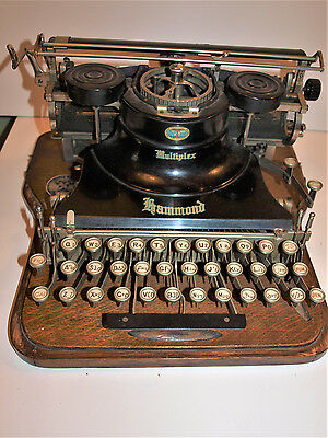 Antique Hammond Multiplex Typewriter, Wood Case. Latin & Hebrew Keyboard