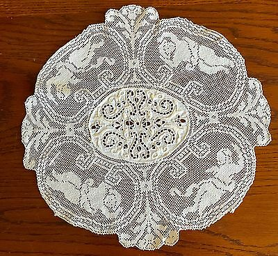 Antique Embroidered Filet Lace Doily Round Figural With Cupids 13 In