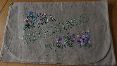 Vintage Stocking Bag Pretty Embroidery Shabby Chic Country Cottage