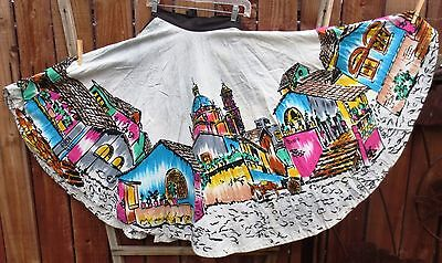 Mexican Full Circle Skirt - Taxco Village Scene - Hand Painted - Vintage 1950s