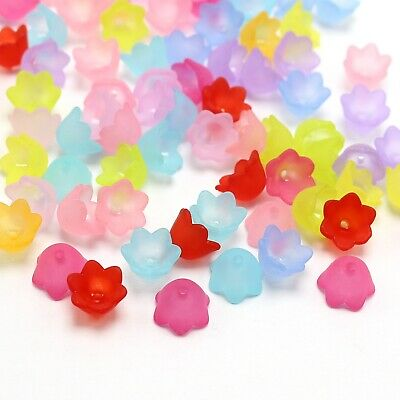100 Mixed Color Frost Acrylic 6 Petal Flower Bead Cap 26mm Cone With Center Hole