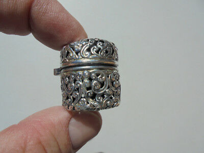 Old Antique Sterling Silver Thimble Holder Case Pierced Openwork Unger Brothers