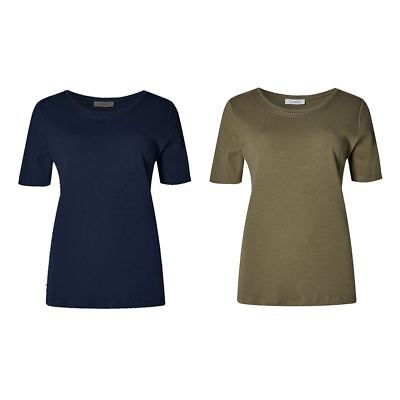 EX M&S Marks And Spencer Pure Cotton Short Sleeve Jersey Top T-Shirt
