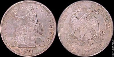 1877 Trade Dollar ** AU ** < Toned Surfaces > Obverse Sctatches