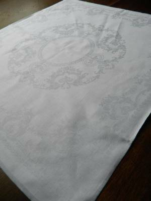 Set of six (6) vintage large Irish linen damask napkins - Scroll & Roses design