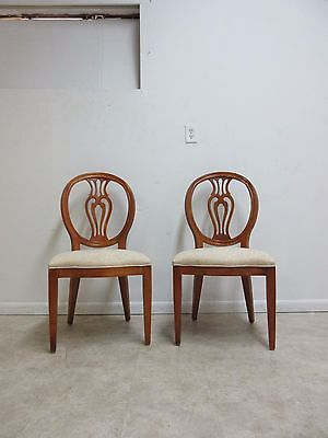 Pair Henredon French Pierce Carved Balloon Back Dining Room Side Chairs A