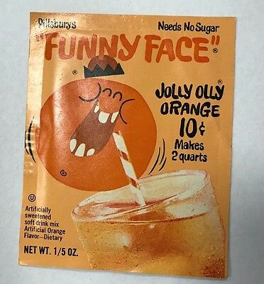 "Original 1960's Pack Of Pillsbury's ""funny Face"" Jolly Olly Orange Mix New"