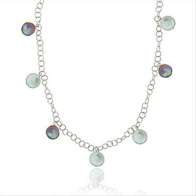 925 Silver Round Gray & Peacock Freshwater Cultured Coin Pearl Chain Necklace
