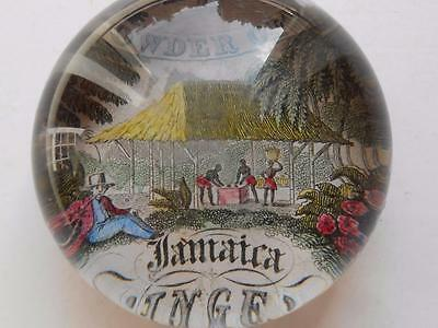 Super Rare Antique Glass Paperweight Powder Of Ginger Jamaica Advertising