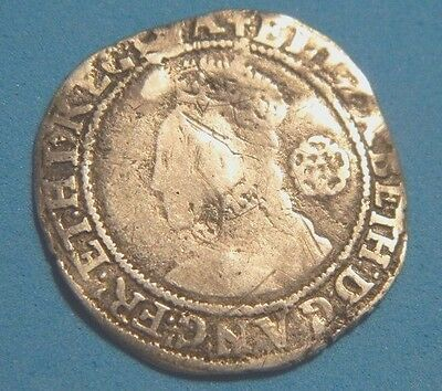 Tudor 1581 Elizabeth 1St Silver Sixpence Mm Latin Cross Rose Beside Bust ,