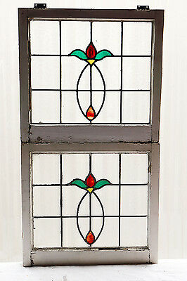 Pair of Large Antique Stained Glass Windows Four Color Art Nouveau Tulips (3039)