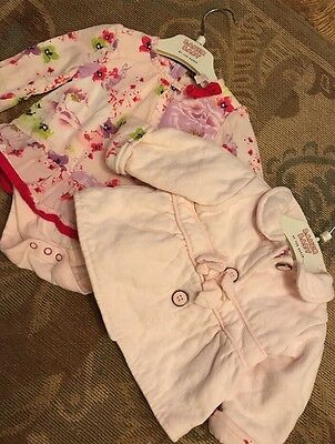 Baby Girls Ted Baker Floral Top Baby grow & Padded Jacket Pansy Print 3-6 Months