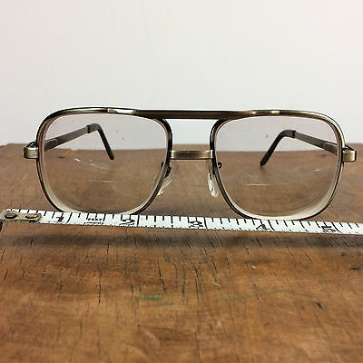Vintage Metal Square Titmus Aviator Eye Glasses Flex Frames Safety 5 3/4""