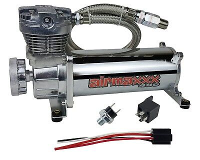 480 Air Compressor Chrome For Horn Or Air Bag Suspension 165psi On - 200psi Off