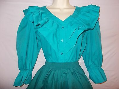 """New Malco Modes Turquoise Button Up  Square Dance Blouse  46""""  Bust Size:  Large"""