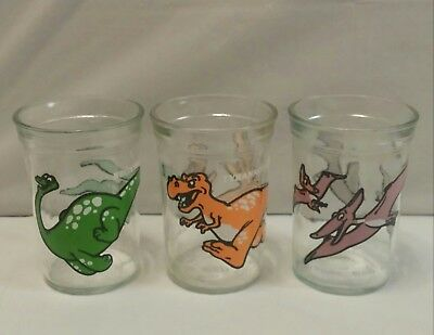 3 Vintage 1988 Welch's Jelly Dinosaur Glasses Brontosaurus, Pterodactyl, T-Rex