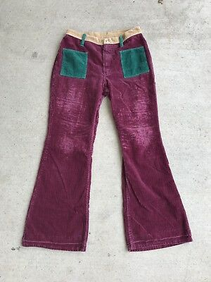 "1970 WRANGLER PATCHWORK BELL BOTTOM PETER MAX JEANS by  BOHO HIPPIE SZ 29"" Women"