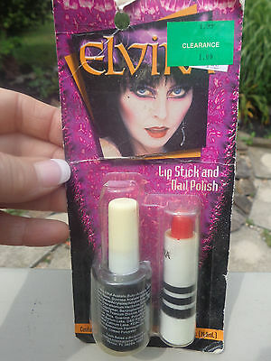 Elvira Blood Red Lipstick Black Nail Polish on card 2000 Mistress of the Dark