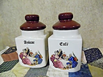 Pair Of French Coffee And Sugar Canisters