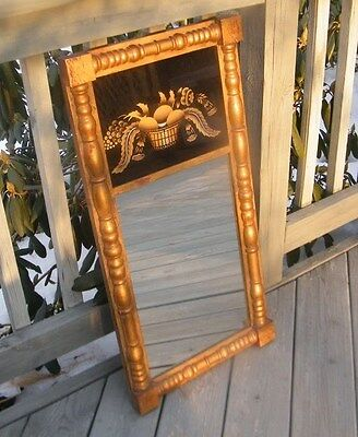 Antique Vintage Wood Reverse Painting Old Wall Mirror