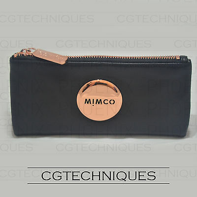 Mimco Black Rose Gold Mim Fold Sheep Leather Wallet Rrp $179