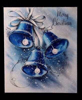 Vintage Christmas Greeting Card Mid Century Silver and Blue Ringing Holiday Bell