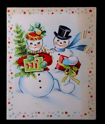 Vintage Christmas Greeting Card Mid Century Mr and Mrs Snowman ~ Cute